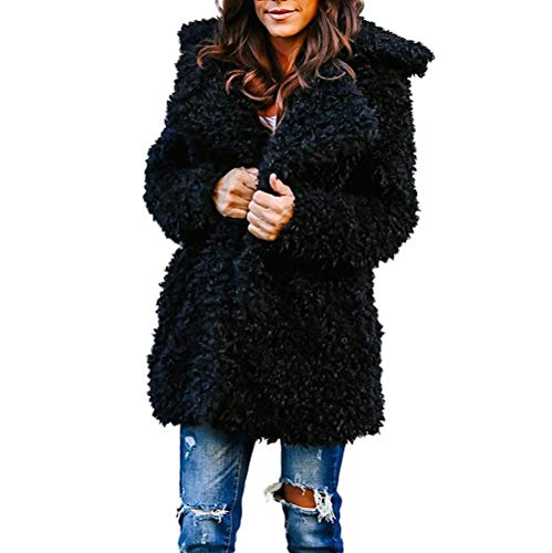 - ZOMUSAR 2018 Womens Fashion Solid Color Faux Shearling Warm Coat Long Sleeve Soft Winter Cardigan Outerwear Black