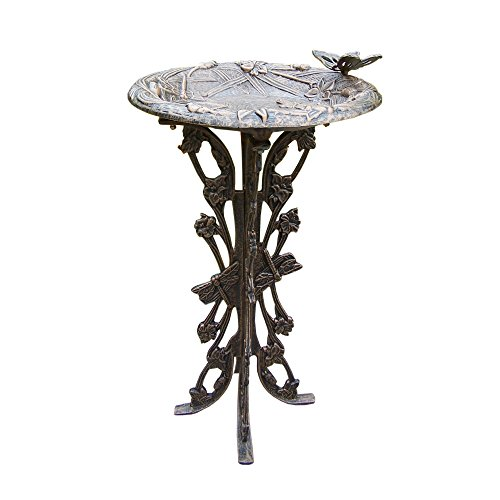 Oakland Living Butterfly Dragonfly Bird Bath, Antique Bronze