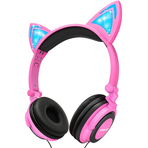 Lobkin Foldable Wired Over Ear Kids Headphone With Glowing Light For Girls Children Cosplay Fans Cat Ear Headphones
