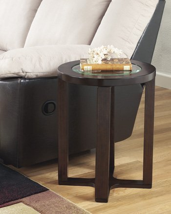 Round Glass Top End Table In Dark Brown By Ashley Furniture - Marion Rectangular Cocktail Table