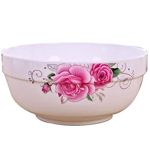 Bowl Salad Bowls Porcelain Bowls Ceramic Bowl mixing bowl Soup Bowls Pink rose Glaze Household Stacking rural Plant flower Jingdezhen (Color : PINK, Size : 6)
