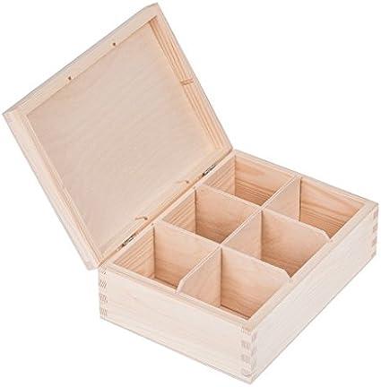 Amazinggirl Caja de Madera con Tapa Decorativa - Cajas almacenaje para Decorar Pintar decoupage Regalo con Compartimentos para el te: Amazon.es: Hogar