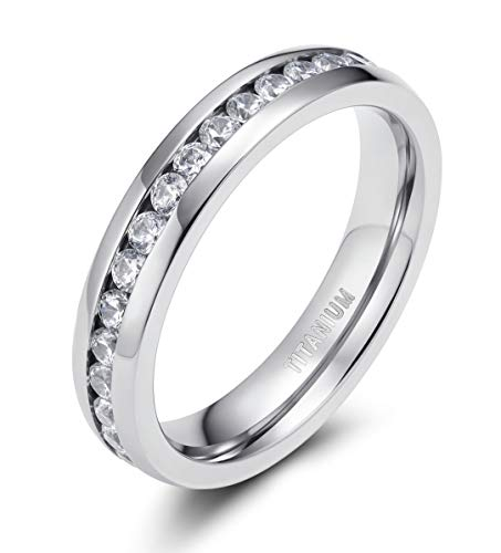 TIGRADE 4mm / 6mm Titanium Ring Cubic Zirconia Anniversary Engagement Eternity Ring Wedding Band Size 4 to 12 (4MM, 6.5)