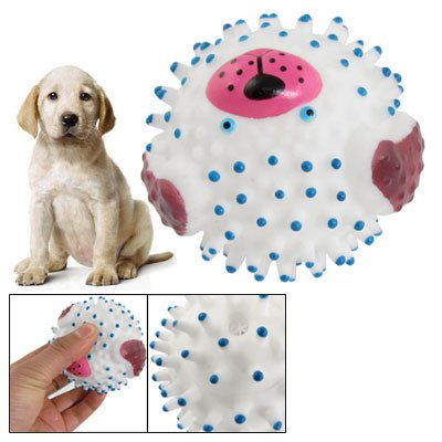 Como White Blue Vinyl Rubber Hedgehog Ball Squeaky Toy for Pet Dog, My Pet Supplies