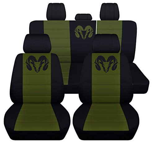 Fits 2012 to 2018 Dodge Ram Front and Rear Ram Seat Covers 22 Color Options (Solid Rear Bench, Black Hunter Green) ()