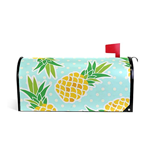 KUWT Magnetic Mailbox Cover Polka Dot Tropical Pineapple Home Garden Yard Outdoor Deco
