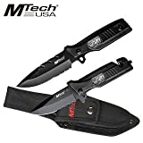 MTECH USA MT-512SF Combo Knife Set 9.25-Inch Overall Fixed 4.75-Inch Closed Folder, Outdoor Stuffs
