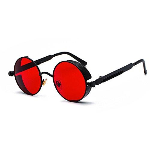 Negra de Océano Gafas Caja color Rojo de Lente de de Marco de círculo moda Inlefen metal sol de sol Gafas retro wnPzUT