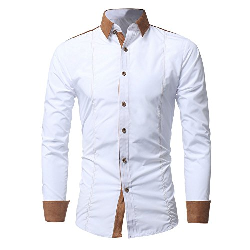 CUCUHAM Men Shirt Fashion Solid Color Male Casual Long Sleeve Shirt WH/XXL(White,XX-Large)