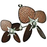 """Twinstar II Dual Ceiling Fan in Brushed Steel with 46"""" Dark Woven Bamboo Blades, Includes Wall Control"""