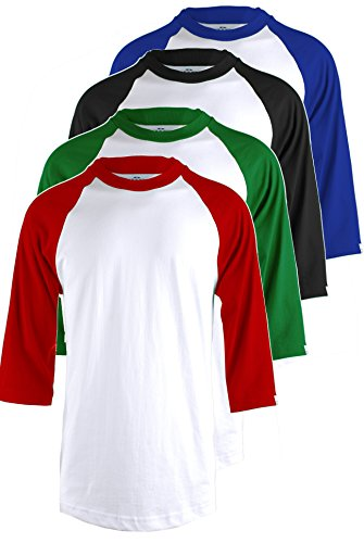 (TOP LEGGING TL Men's 4 Pack 3/4 Sleeve Baseball Cotton Crew Neck Jersey Raglan Tee Shirts S to 3XL WHRED_WHGREN_WHBLK_WHRBLU L)