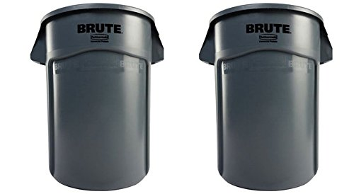 Rubbermaid Commercial FG264360GRAY Brute Vented Utlity Container, 44-gallon, Gray (2 X 44 GALLONS)