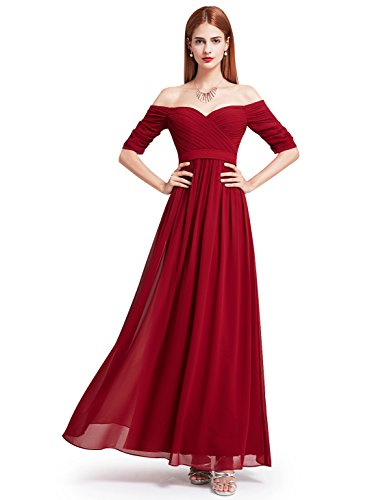 Ever-Pretty Womens Off Shoulder Sweetheart Long Prom Dress 16 US Burgundy