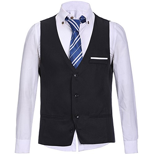 HEQU Men's Business Suit Vest Slim Fit Formal Wedding Dress Suits Solid Button Down Vest Waistcoat Black_07 L by HEQU