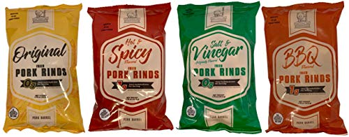 Pork Rinds Variety Pack - Pork Barrel Pork Rinds (Four 1.75 oz Bags) I Keto Snack I Pork Rinds Salt and Vinegar, Spicy, Original, BBQ - Fried Pork Rinds Keto