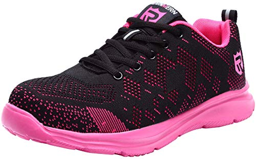 LARNMERN Steel Toe Women Safety Shoes Work Hiking Sneakers Flexible Anti-Piercing Light Weight and Breathable 12K(5 US, Pink)