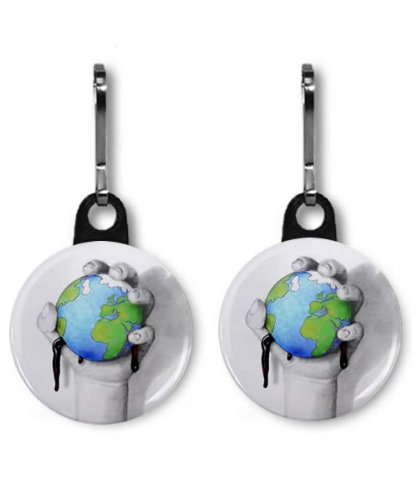 SAVE OUR PLANET bp Oil Spill 2-Pack 1 inch Zipper Pull - Bp Planet