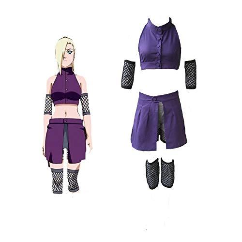 (Classical City Naruto Shippuden Ino Yamanaka Cosplay Costume Suits 5 Pcs (XS) Purple)