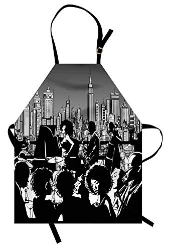 Jazz Apron, Band Performing on a Rooftop in Party with New York City Downtown Landscape, Unisex Kitchen Bib Apron with Adjustable Neck for Cooking Baking Gardening, Grey Black and White ()