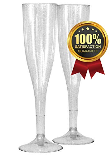 50 Silver Glitter Champagne Flutes   ~5oz Quality Plastic Sparkling Disposable & Reusable   Perfect for Wedding Toast & Bridal Party & Birthday Reception & New Year's Eve Cocktail & Formal Gathering