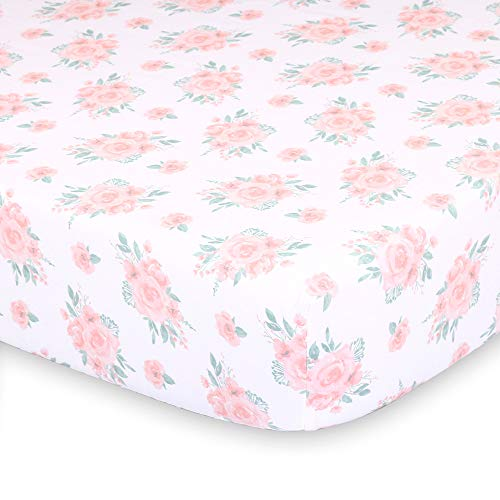 (Pink Watercolor Floral Fitted Baby Girl Crib Sheet - Farmhouse Collection by The Peanut Shell)
