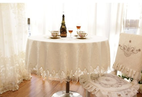 Diaidi Lace Tablecloth Round for Weddings, Shabby Chic Dining Table Set, Luxury Kitchen Plaid Table Cloth, Oval Table Cover White, Hotel Polyester Table Overlays (Shabby Chic Dining Sets)