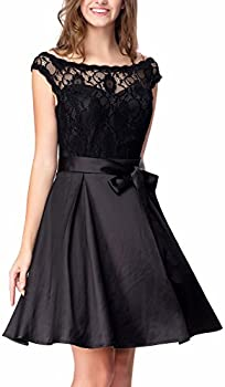 Noctflos Womens Lace Satin Little Dress For Cocktail Party Prom