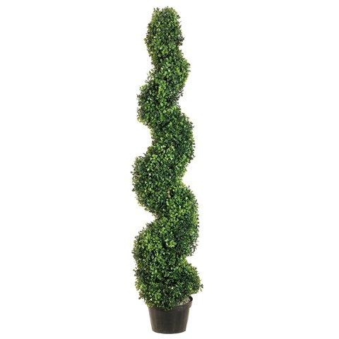 (SilksAreForever 4' Pond Boxwood Spiral Artificial Topiary Tree w/Pot Indoor/Outdoor)