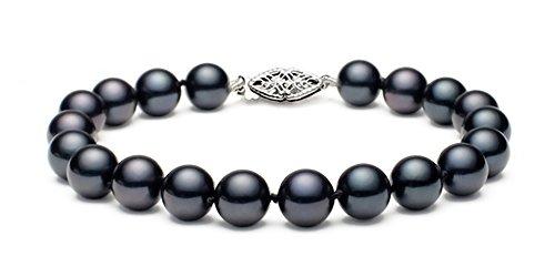 14K Or Noir Perle de culture d'eau douce Bracelet de qualité AA +, 17,8cm