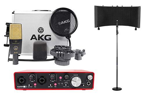 AKG C414 XLII Recording Microphone Mic+Focusrite Interface+Vocal Shield+Stand