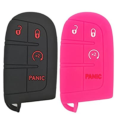 Coolbestda 2Pcs Rubber 3button + Panic Key Fob Cover Remote Skin Keyless Case Protector for Dodge Durango Journey Dart Challenger Jeep Renegade Fiat: Automotive