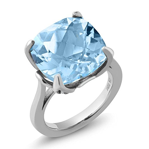 12.12 Ct Cushion Checkerboard Sky Blue Topaz White Diamond 925 Sterling Silver Ring (Available in size 5, 6, 7, 8, 9) by Gem Stone King