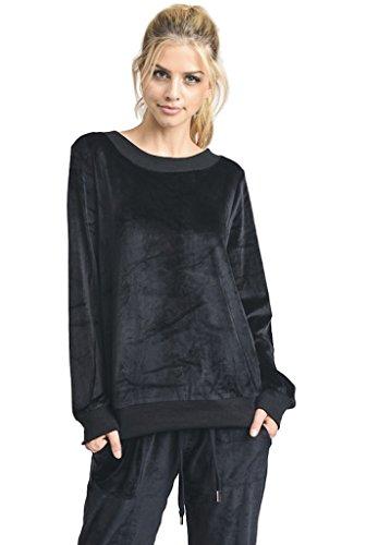 Velour Banded Bottom Pullover - 1