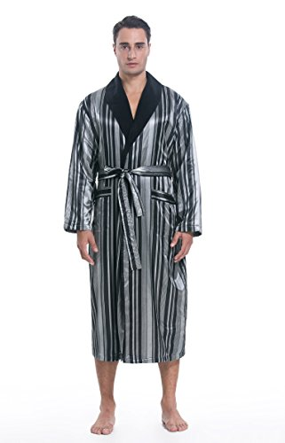 SunRise Men's Polyester Satin Polar Fleece Lining Bathrobe Robe (Small, Grey Stripe)