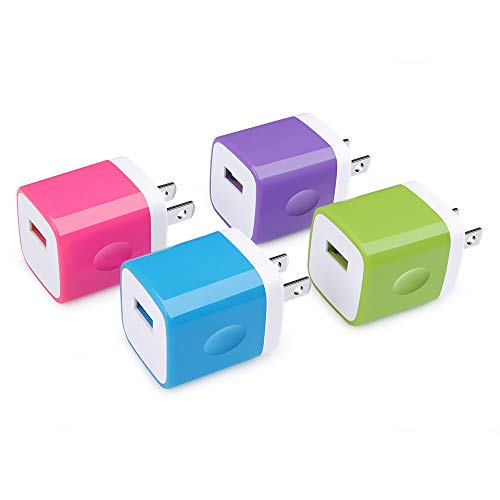 USB Wall Charger, Charging Block [UL Certified] 4-Pack 5V/1A USB Plug Charging Cube Travel Adapter Phone Charging Box Compatible with iPhone XS/X/8/7/6,Samsung,Huawei and More Android Phones