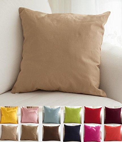 "TangDepot Cotton Solid Throw Pillow Covers, 14"" x 14"" , Khak"