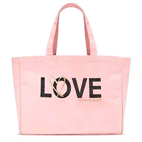 Victoria's Secret Canvas Tote Bag Pink with Black Sequins