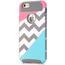iPhone 5 Case,iPhone 5S Case,LUOLNH [2in1] Heavy Duty Hybrid Hard Case for Apple Iphone 5/5s ,Blue Mint Teal and Coral Pink Split Chevron Design Cover (Gray)