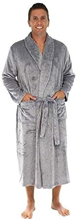 PajamaMania Men's Fleece Long Robe Heather Navy PM040HNAVY-XL