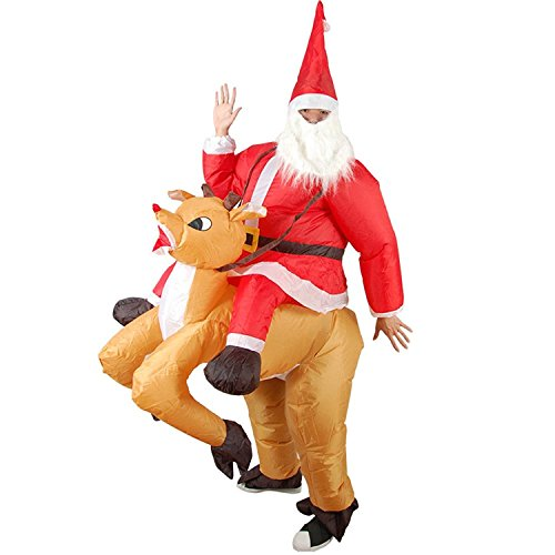 Wecloth Xmas Inflatable Elk Costume Christmas Santa Cosplay Reindeer-Rider Suit For Adult]()