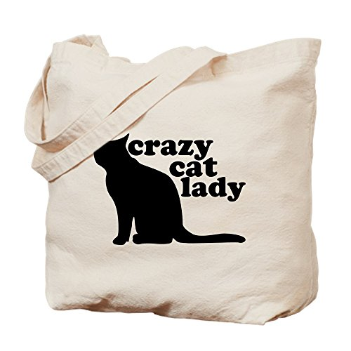 CafePress - Crazy Cat Lady - Natural Canvas Tote Bag, Cloth Shopping - Bag Silhouette Tote Pets