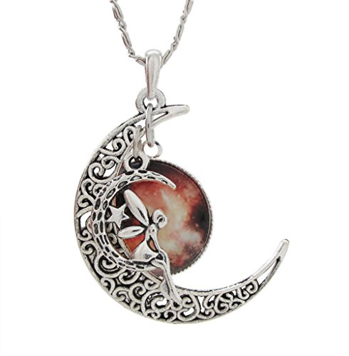 DaisyJewel Halloween Harvest Moon Fairy Multi Pendant Charm Necklace with Scroll Chain