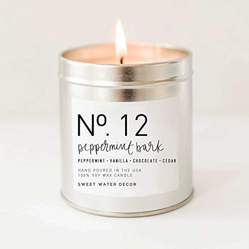 - Peppermint Bark Soy Wax Candle Silver Tin Citronella Sweet Berries Vanilla Bean Chocolate Scent Holiday Christmas Candle Lead Free Cotton Wick Made in USA Winter Farmhouse Decor Stocking Stuffer