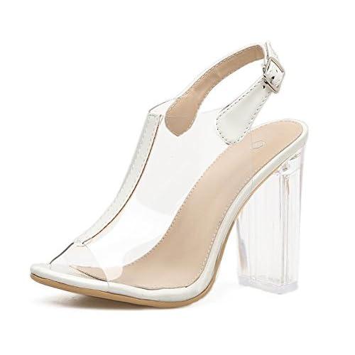 a0cccd75f54 GAIHU mujer sandalias de PVC transparente damas sexy zapatos de tacón alto  grueso cristal transparente Hebilla