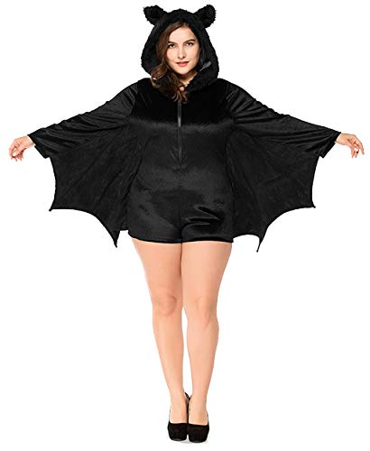 HEARTISIAN Womens Bat Wings Hoodies Cosplay Party Jumpsuit Halloween Costumes Outerwear Flannel Velvet Rompers(Black-2XL)