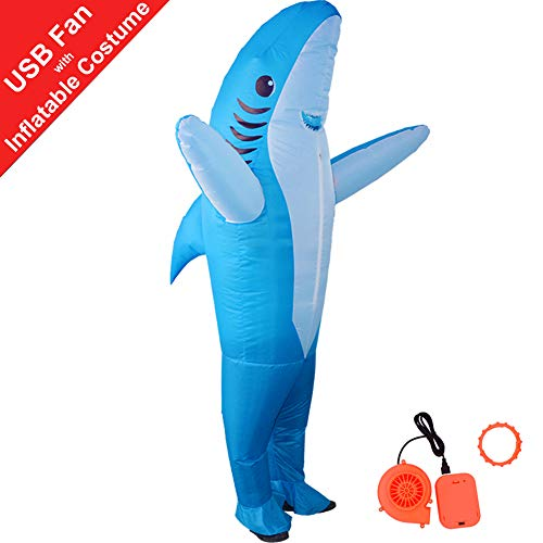 HUAYUARTS Inflatable Costume Blow up Costume Shark Game Fancy Dress Halloween Jumpsuit Cosplay Outfit Gift,Adult (Adult, Shark-Blue-Adult)