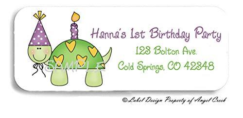 60 Hearts Turle First Birthday Happy Birthday Personalized Return Address Labels 1st Birthday Address Labels