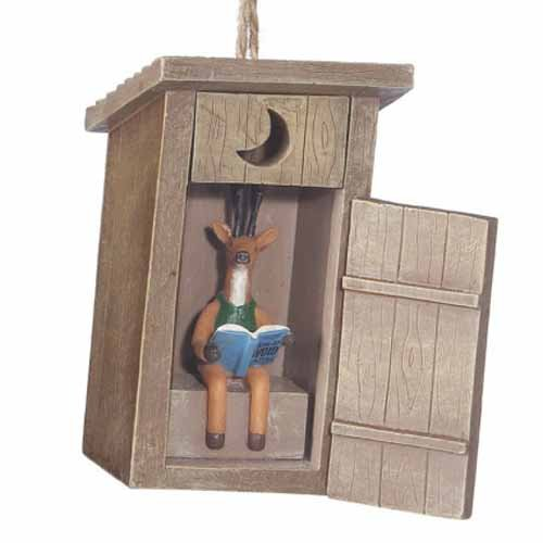 Outhouse with Deer Inside Resin Hanging Christmas Ornament - Size 3.5 in. ()