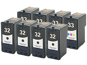 4 Black + 4 Colour Remanufactured LEXMARK No 32 / 18C0032 + No 33 / 18C0033 8pk Printer Ink Cartridges for LEXMARK Printers X / Z / P Series P4350 P6250 P6350 P915 P4330 X5250 X3330 X5450 X3350 X5270 X5470 X7170 X7350 X8350 Z818 Z815 Z816 P-4350 P-6250 P-6350 P-915 P-4330 X-5250 X-3330 X-5450 X-3350 X-5270 X-5470 X-7170 X-7350 X-8350 Z-818 Z-815 Z-816 Black / Tri-Colour Cartridge 8pk 818 Series 818 Series