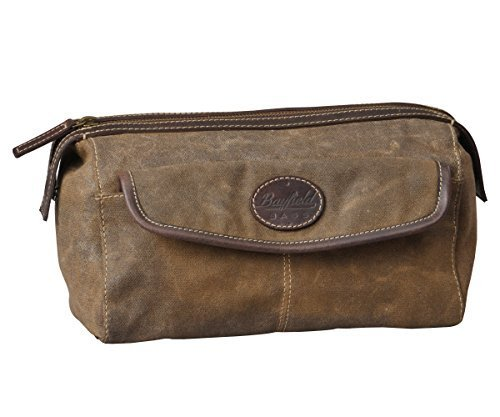 Men's Canvas Leather Toiletry Bag Shaving Kit - Bayfield Bags - Vintage Retro-Look Waxed Canvas Large (11x6x6) Travel Dopp Bag